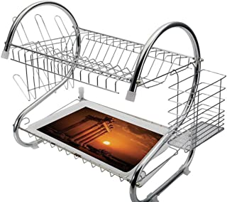 Stainless Steel 2-Tier Dish Drainer Rack Ancient Decor Kitchen Drying Drip Tray Cutlery Holder Antique Ancient Rome Empire Monuments Columns Statues with Sun Picture,Orange and White,Storage Space Sav