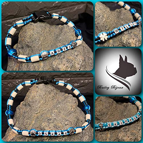 Bailey- Bijoux Anti Zecken- und Schmuckhalsband * EM Keramik Halsband * für Hunde und Katzen * (SCHWARZ - BLAU) * INDIVIDUALISIERBAR MIT Namen UND VERSCH. PERLEN (24 cm KLICKVERSCHLUSS)
