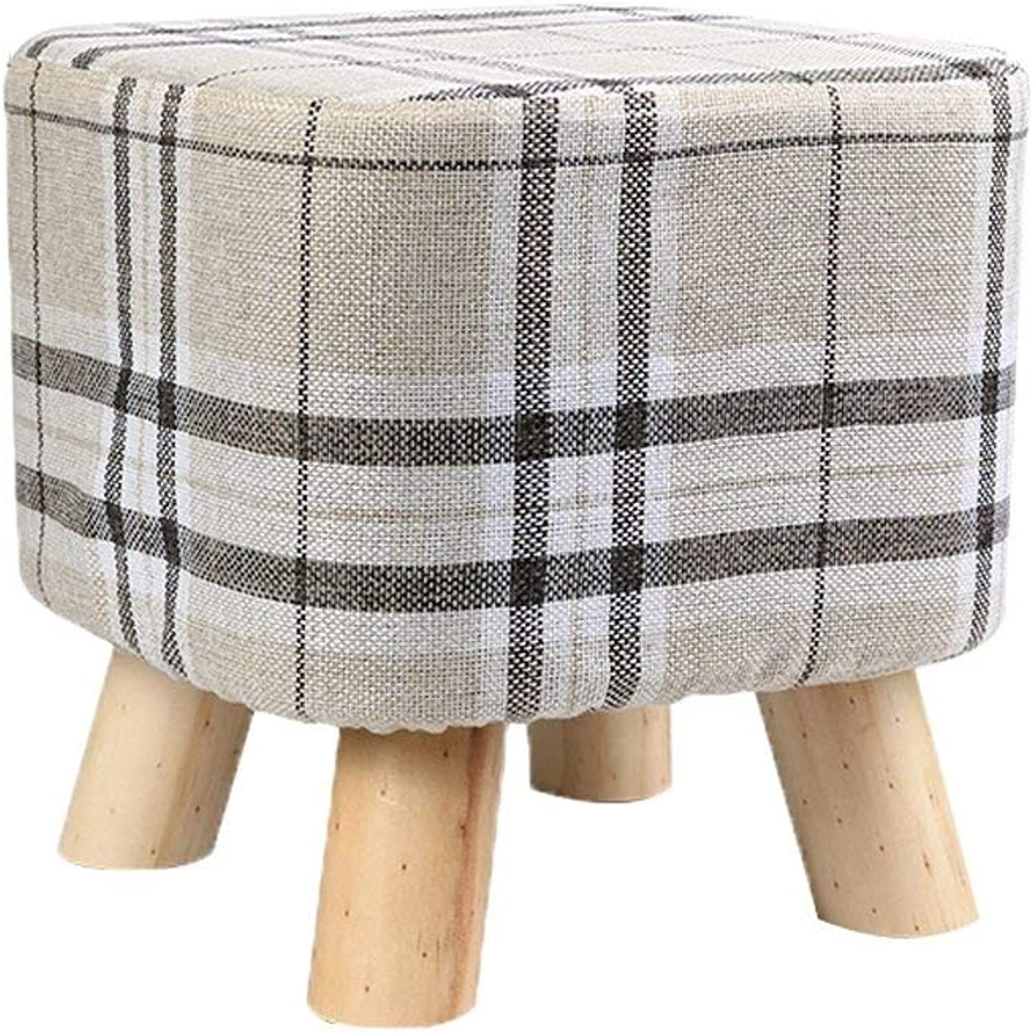 GJD Solid Wood shoes Bench Low Stool Fabric Stool Home Chair shoes Bench Stool Sofa Bench - Small Stool (color   E)