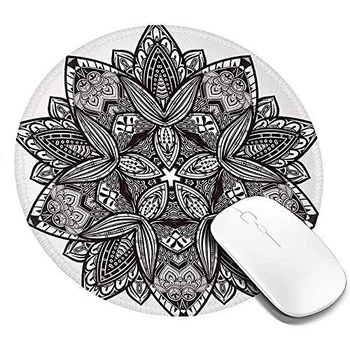 Runde Mausunterlage Mausepad,Ethnische Paisley Mandala Stammes Orientalischen Stil Vintage Tattoo Künstlerische Muster 20Cm Wasserdichtes Mousepad,Rutschfeste Mousemat