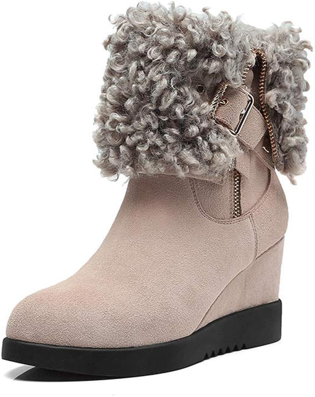 Ailj Snow Boots, Women's Leather Plus Velvet Warm Boots 7.5cm Wedge with Waterproof Tube Boots Cotton shoes (2 colors) (color   Beige, Size   35 EU 4 US 3 UK 22.5cm JP)