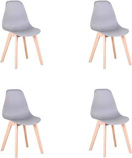 Pack de 4 sillas Comedor, sillas de diseño nórdico con Patas en Madera Maciza, sillas para Sala de Estar, Cocina, Oficina (Gris-4)