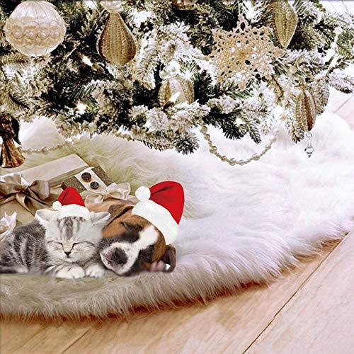 UHAPEER Faldas Arbol Navidad Felpa de Decoración, Ornamentos Vacaciones Chrismas Parte, Blanco (78cm)