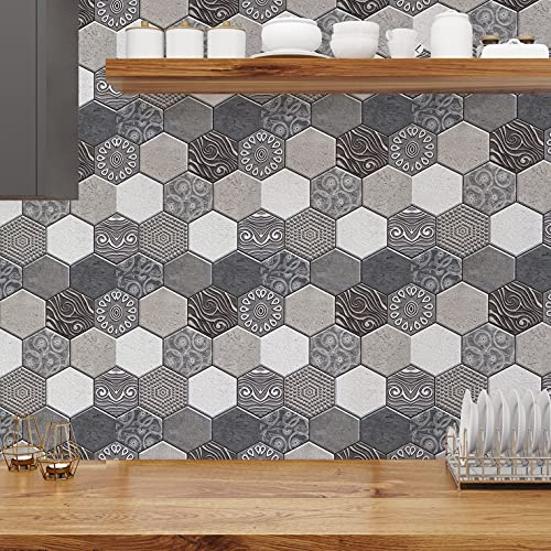 CONPEHRON 5pcs Decorativos Adhesivos para Azulejos Pegatina de Pared, Patrón de Mampostería, Efecto 3D, Cenefa Autoadhesivo, para Baño y Cocina, 30X30cm(Hexágono)