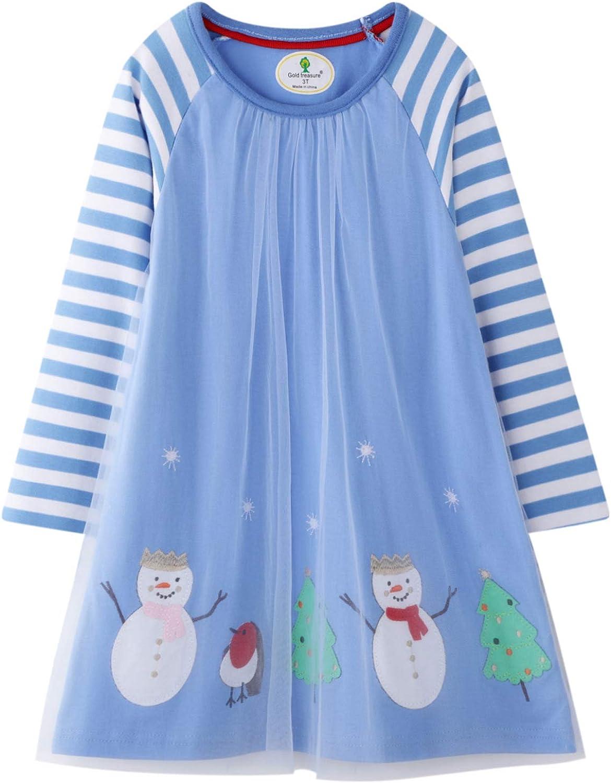 JKJM Girls Long Sleeve Dress School Wear Casual Adorable Summer Cotton Clothes 2-7 Years