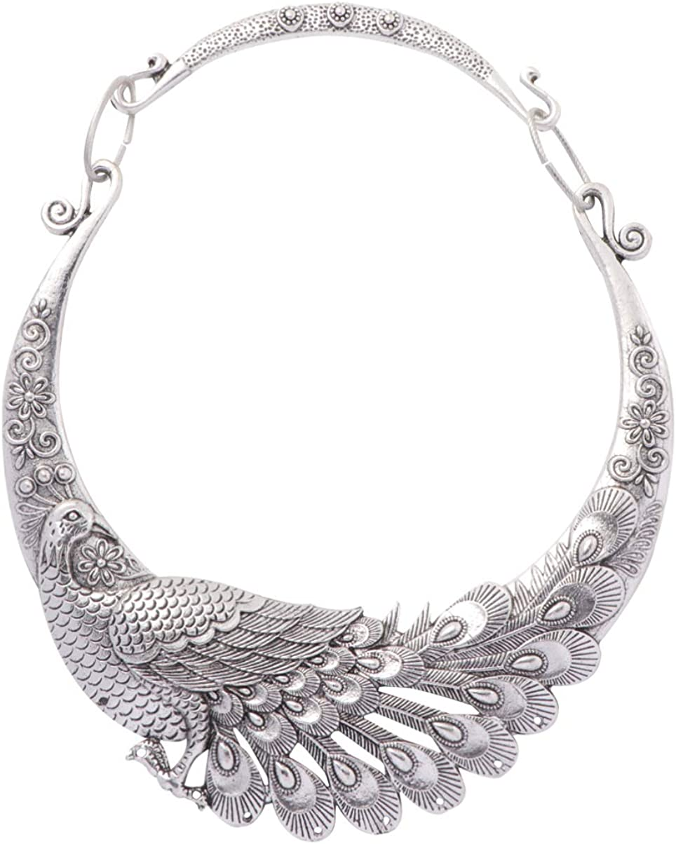 Happyyami Exaggerated Necklace Vintage Peacock Ethnic Carved Chunky Collar Choker Necklace Costume Jewelry for Women Men Teens Colorful