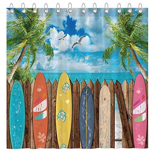 "Funnytree Summer Surfboard Beach Shower Curtain Set with Hooks Tropical Seaside Palm Sea Bath House Bathroom Bathtubs Decor Easy Care Waterproof Washable Durable Polyester Fabric 72""x72"""
