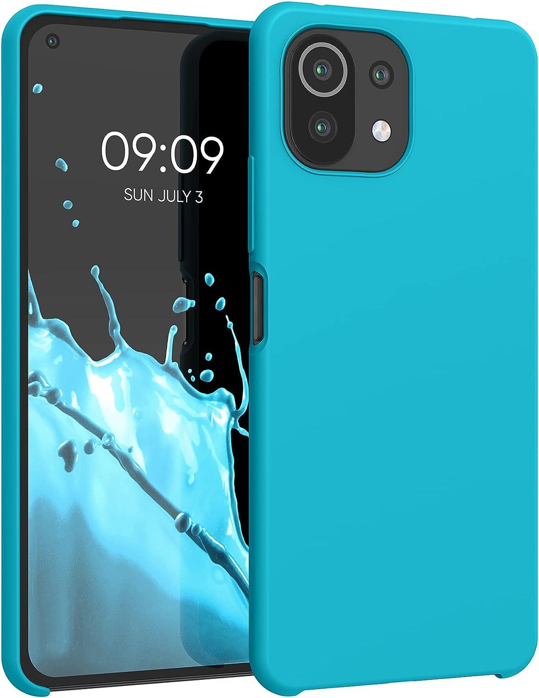 kwmobile Carcasa Compatible con Xiaomi Mi 11 Lite (5G) - Funda de Silicona para móvil - Cover Trasero en Azul Turquesa