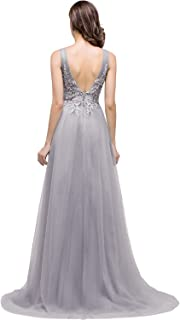 Women's Beaded Lace Appliques Tulle A-Line Long Evening Formal Dresses