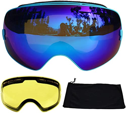 LOLIVEVE Lunettes De Ski Lunettes De Ski Anti-Buée Uv400 à Double Lentille Neige Lunettes De Ski De Snowboard Lunettes De Ski avec Lentille De Vision Nocturne