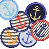 Flicken zum aufbügeln rund Anker Mix 6 Aubügler 5cm Bügelflicken kleine maritime Bügelbilder Paket Patches für Erwachsene