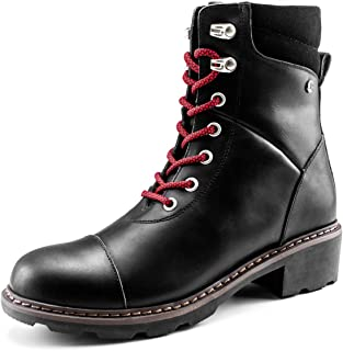 Waterproof High-top Leather Martin Boots for Women,Chunky Heeled Mid Calf Boots Girs, Round Toe Block Heel Lace Up Ankle Boots Ladies, Non-Slip Laceup Combat Paddock Boots Youth