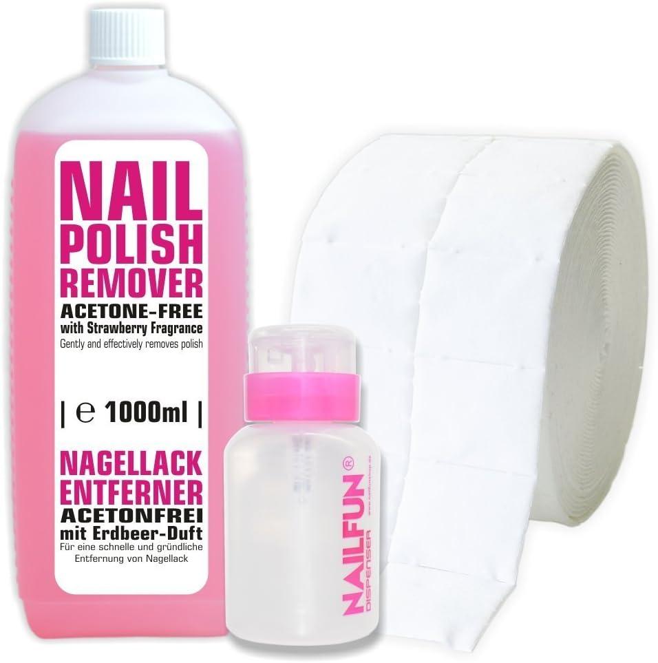 1 litro esmaltes de uñas removedor acetona 500 carrete de pesca de + la muerte de células (1 carrete de caña de) + 1 de bombeo botella Colour rosa 150 ml