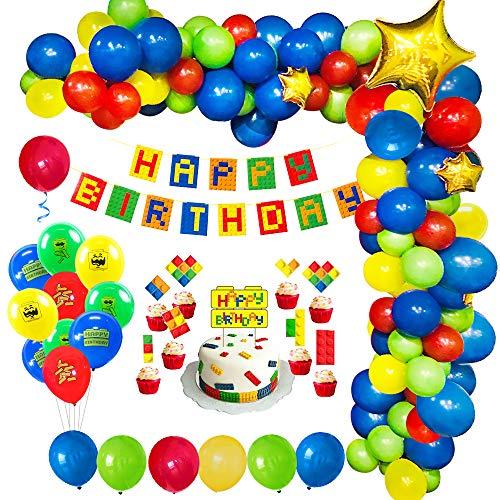 MMTX Geburtstags Deko Jungen, Bausteine Happy Birthday Girlande Luftballons Dekoration Set mit Kuchenaufsätze für Kinder Geburtstag, Taufe, Partyset