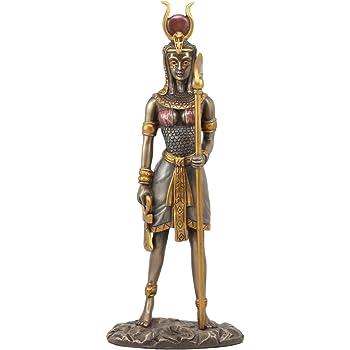 Ebros Egyptian Goddess Of Motherhood Music And Dance Hathor Statue Bronzed Sculpture Mansion of Horus Sculpture Brand change to:Ebros Gift