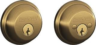 Schlage B62N609 Deadbolt, Keyed 2 Sides, Antique Brass