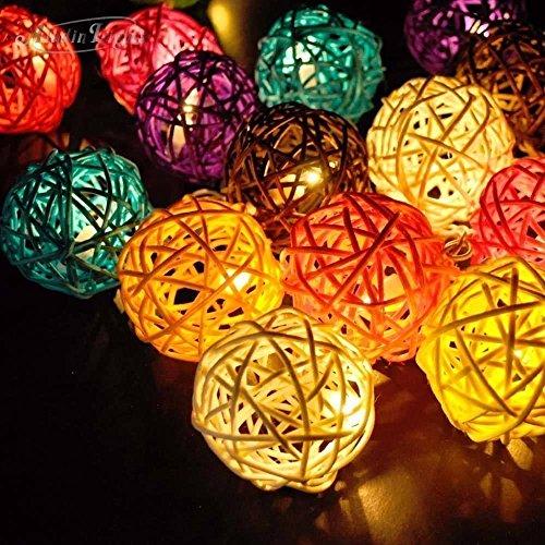 Boule en rotin LED Guirlande lumineuse, Dinowin 20 LED Boule lumières décoratives 5 cm de diamètre en rotin lumières pour l'intérieur Mariage, Noël, vacances, terrasse, maison, Bedroom-battery