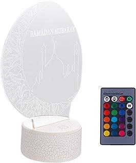 Mobestech 3D Ramadan Mubarak Night Light Islam Church USB Touch Remote Control 7 Color Light for Eid Party Decor Light Fri...