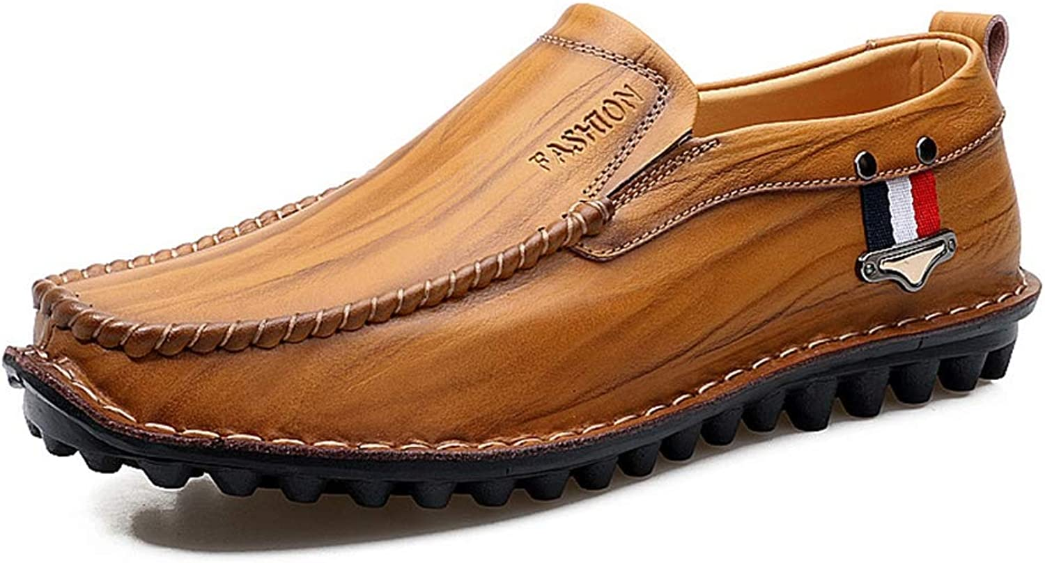 Y-H Men shoes,Fashion Men Leather shoes Casual Men shoes Male Leather shoes Slip On Men Loafers Loafers & Slip-Ons,Driving shoes,yellowbrown,43