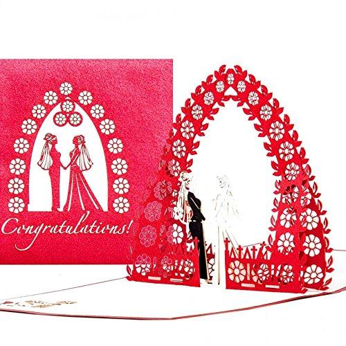 3D Wedding Card Mrs & Mrs – Congratulations Cards for Lesbian Wedding – hochwertige Pop-Up Hochzeitskarte zur lesbischen Hochzeit - edle 3D Karte zur gleichgeschlechtlichen Ehe & Trauung