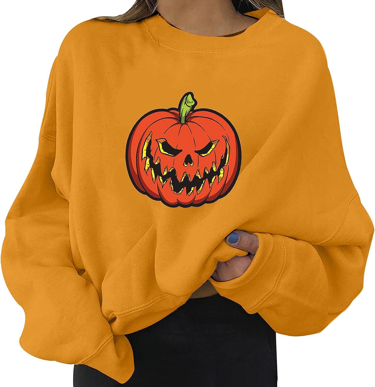 Halloween Skeleton Pumpkin Los Angeles Mall Hoddie Round Neck Fashi Print Ranking TOP13