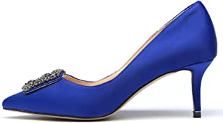 Women's High Heels Satin Rhinestone Diamonds Pointed Toe Slip On Evening Pumps Shoes