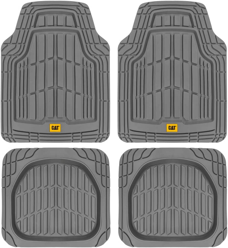 CAT ToughRide Heavy-Duty 4 Piece Rubber Floor Mats for Car Truck Van SUV, Gray – Odorless Trim to Fit Car Floor Mats, All Weather Deep Dish Automotive Floor Mats, Total Dirt Protection