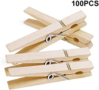 jijAcraft 7.2 cm Wood Clips,Clothespins Bulk,100 Pieces Large Clothespins,Wooden Clothespins for Laundry Arts Crafts Decor Storage