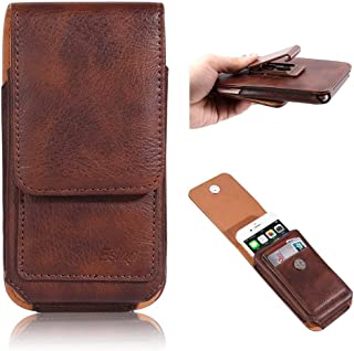 """Esing 6.3"""" Universal Holster Pouch Card Slot Rotation Belt Clip Case for Galaxy Note 8 9 10+ /Galaxy S8 S9 S10e S10 Plus &iPhone XR/Xs Max (Brown)"""