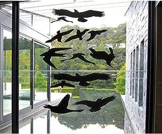 ウィンドウアラート鳥ステッカーシルエットガラスドア保護保存鳥、ブラック–by fMjI