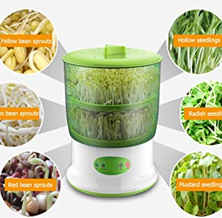 WXH Bean Sprouts Machine, Intelligent Automatic Bean Sprouts Maker, 2 Layers Function Large Capacity Seed Grow Cereal Tool