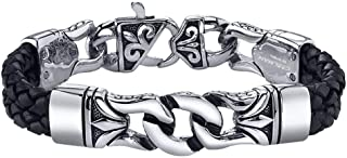 Men's Bracelet Stainless Steel with Braided Leather Wristband Black 8.8 Inch