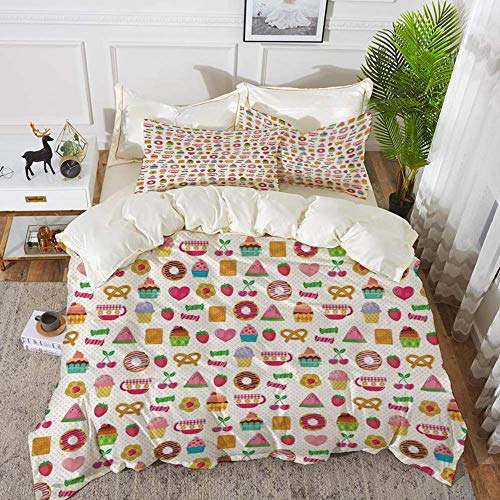 161 Tea Party,Sweets Candies Cookies Fruit and Other Cute Things Festive Cheerful Collectio,Hypoallergenic Microfibre Duvet Cover Set 230 x 220cm with 2 Pillowcase 50 X 80cm