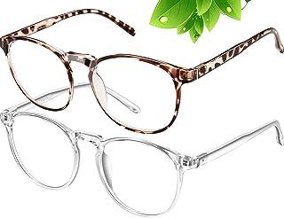 Blue Light Blocking Glasses Women/Men,Retro Round Anti Eyestrain Computer Gaming Glasses(2Pack)