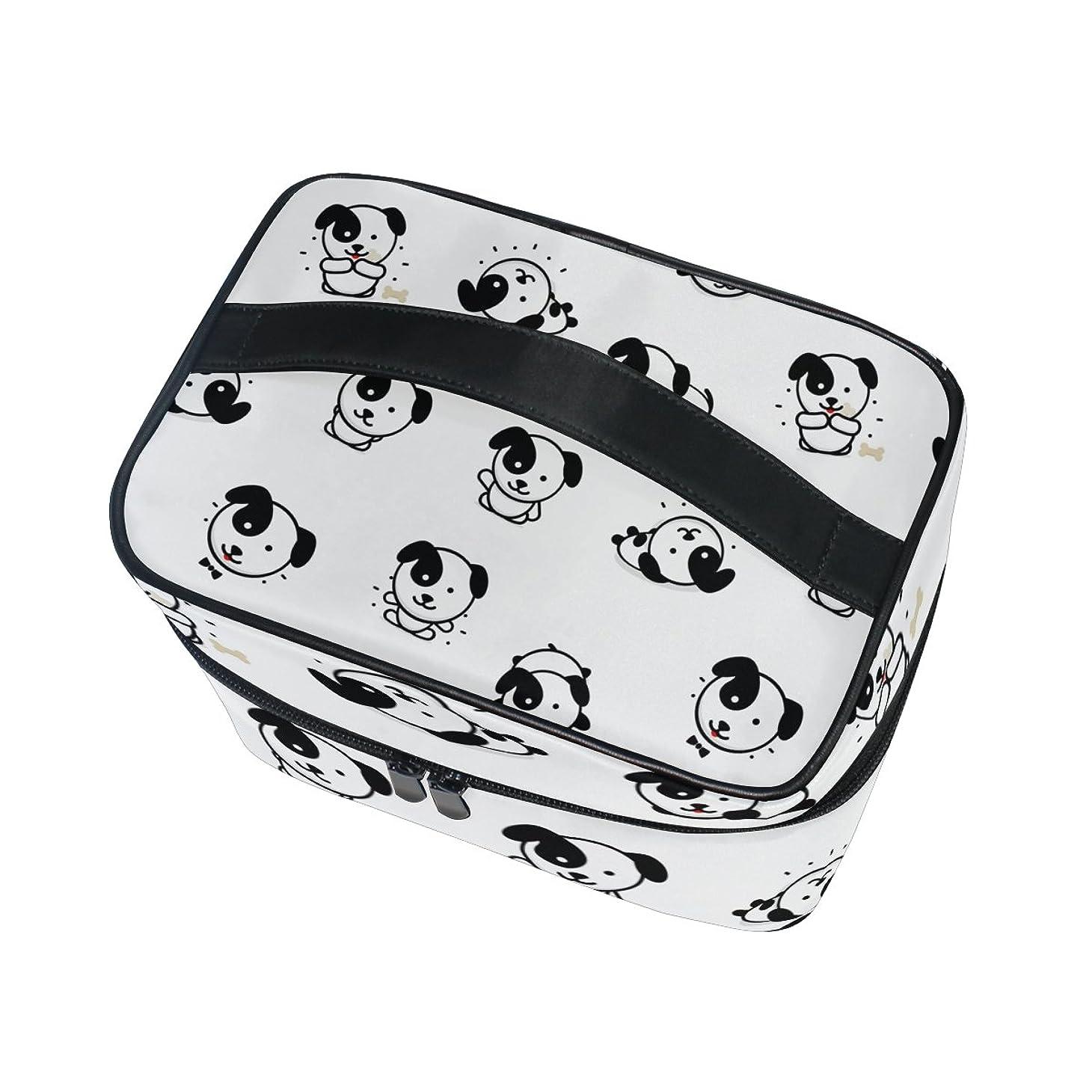 アノイ性差別アイロニーALAZA 化粧ポーチ 犬柄 いぬ柄 化粧 メイクボックス 収納用品 ホワイト 大きめ かわいい