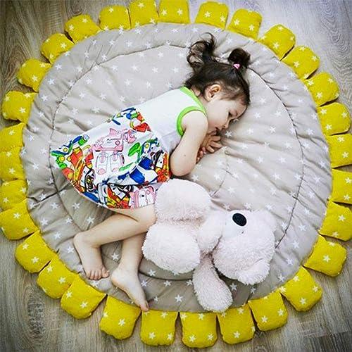 SXFYGYQ Jeu de rampeHommest pour bébé Prougeection de l'environneHommest Confortable Plateau de Jeu pour Enfants Tapis Lavable Tapis en Coton Conception de Tournesol