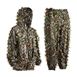 EAmber Ghillie Suit Youth 3D Leaf Camo Camouflage Lightweight Clothing Suits for Jungle Hunting, CS Game, Airsoft, Wildlife Photography or Halloween