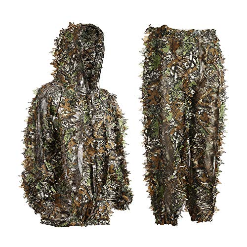 EAmber Ghillie Suit 3D Leaf Camo Youth Adult Lightweight Clothing Suits for Jungle Hunting,Shooting, Airsoft, Wildlife Photography or Halloween
