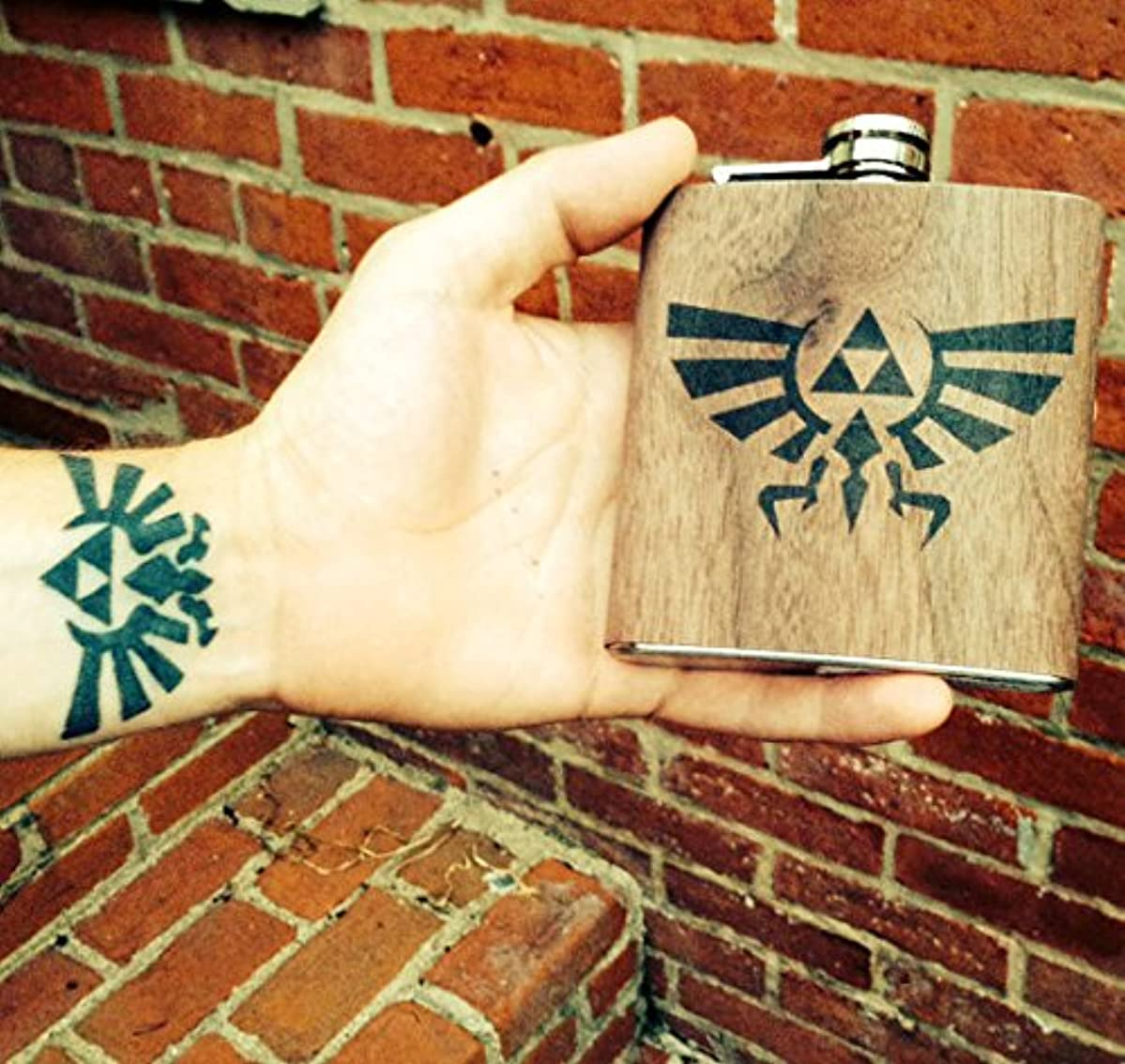 Personalized Zelda real wood wrapped flask
