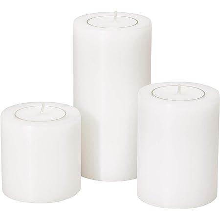EDZARD Lot de 3 photophores Cornelius - Diamètre : 6 cm - Hauteur : 6 cm - Hauteur : 8 cm - 10 cm - Pour bougies chauffe-plat standard et bougies chauffe-plat transparentes - Résistant à la chaleur jusqu'à 90 °C