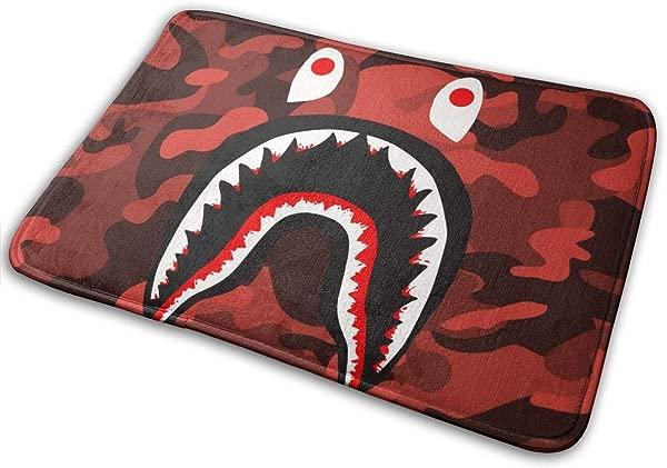 Sunmoonet Bape Blood Shark Red Camo Entry Way Door Mat Rug With Non Slip Backing Indoor Doormat For Kitchen Bath Pet