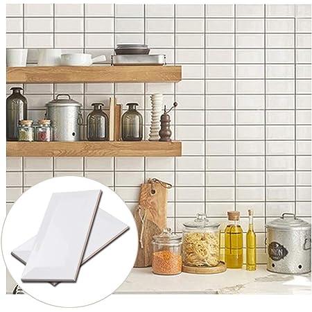 Soulscrafts Porcelain Ceramic Beveled Subway Tile for Kitchen Backsplash Bathroom Floor & Wall Tile 3 x 6 Inch White(56-Pack, 7 sq.ft)