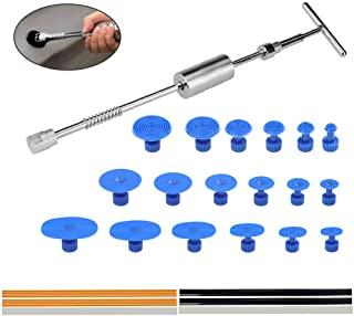 QLOUNI Paintless Dent Repair Puller Kit - Dent Puller Slide Hammer T-Bar Tool with 18pcs Dent Removal Pulling Tabs+6Pcs Hot Glue Sticks for Car Auto Body Hail Damage Remover