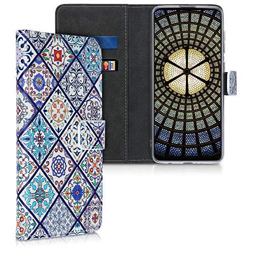 kwmobile Wallet Hülle kompatibel mit Samsung Galaxy A21s - Hülle Kunstleder mit Kartenfächern Stand Marokkanische Fliesen bunt Blau Orange Weiß