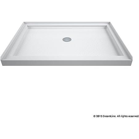 DreamLine SlimLine 34 in. D x 42 in. W x 2 3/4 in. H Center Drain Single Threshold Shower Base in White, DLT-1134420