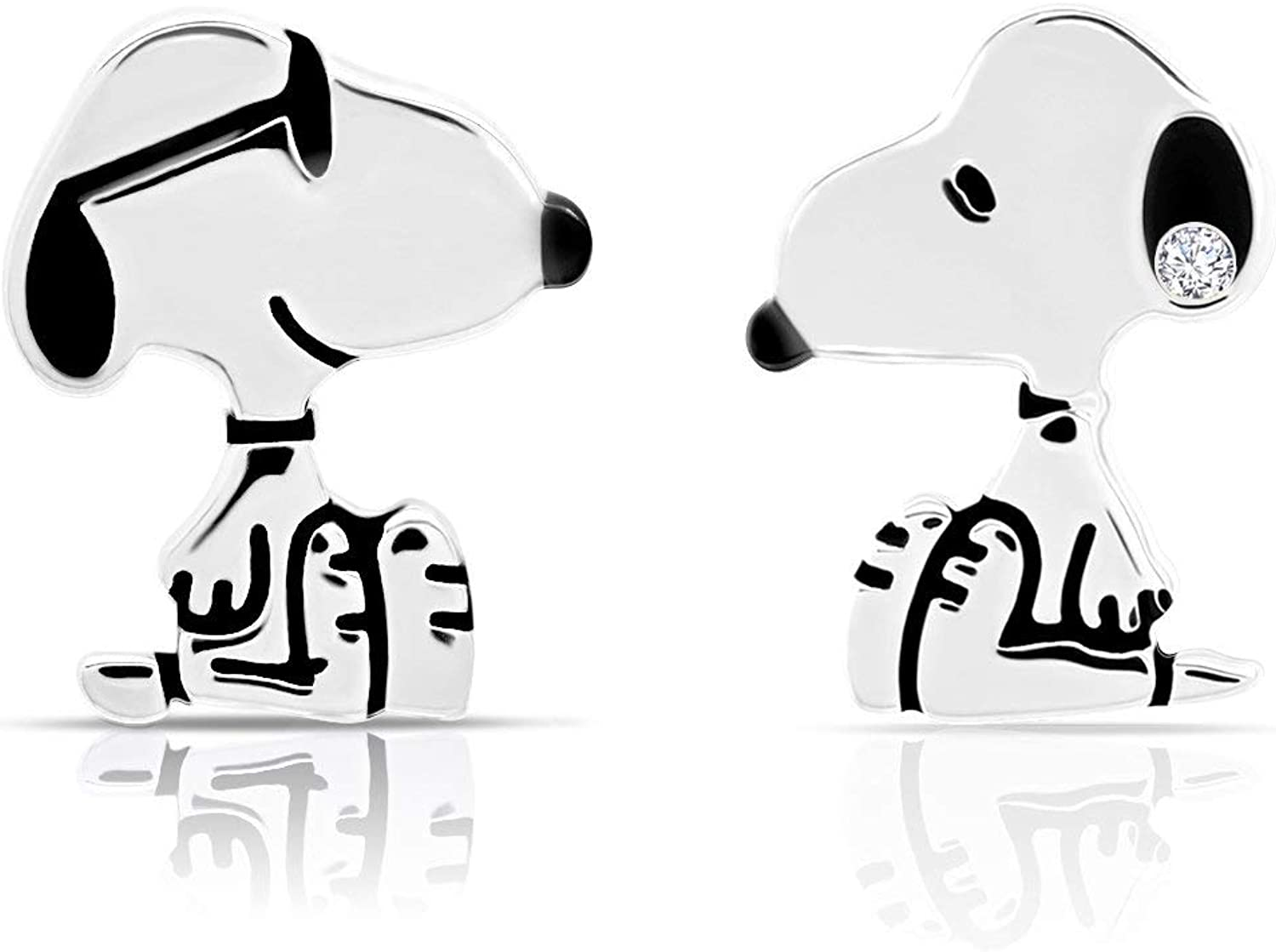 Platinum Plated 25% Nashville-Davidson Mall OFF Sterling Silver Cubic Earri Stud Zirconia Snoopy