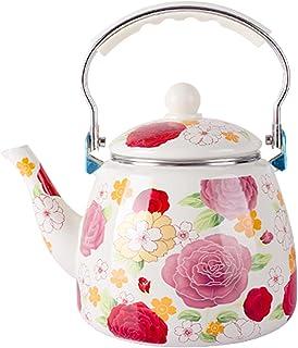 sahadsbv Théière émaillée Florale de 3,3 L, Grande Bouilloire émaillée à Fleurs Roses en Porcelaine, cafetière Turque rétr...
