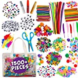 Kids Arts and Craft Supplies - Blue Squid Ultimate Kids Crafts Set, Massive 1500+ Pieces, Giant Art Supplies for Kids of All Ages from 4 5 6 7 8 9 to 99, Easy Modern Storage Bag