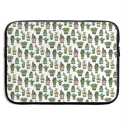 Cactus-patroon bloempotten 15-inch laptop-mouw-zak-beweegbare ritssluiting laptop-tas-tablet-tas