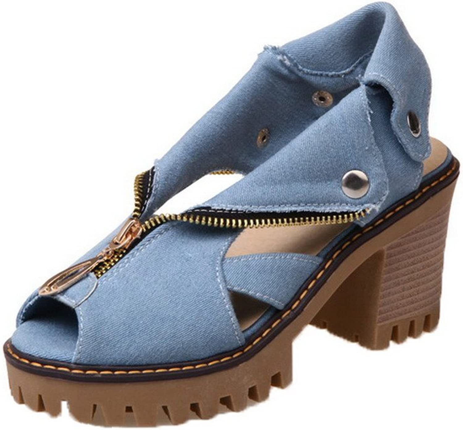 WeenFashion Women's Open-Toe Zipper Denim Solid High-Heels Sandals, AMGLX009731